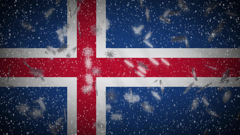 Iceland flag falling snow loopable, New Year and Christmas background, loop Animation