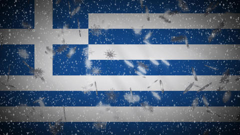 Greece flag falling snow loopable, New Year and Christmas background, loop Animation