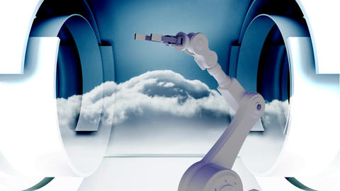 Robot arm picking up a globe in the sky Animation