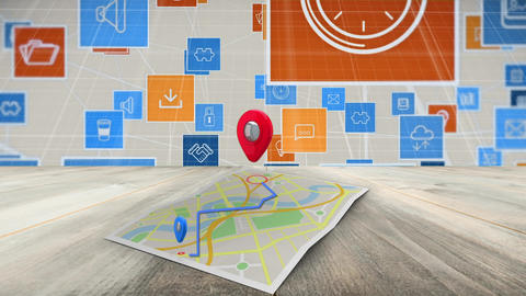 Internet icons on a google map Animation