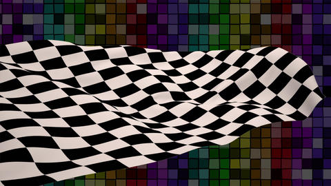 Chequered flag in a colourful background Animation
