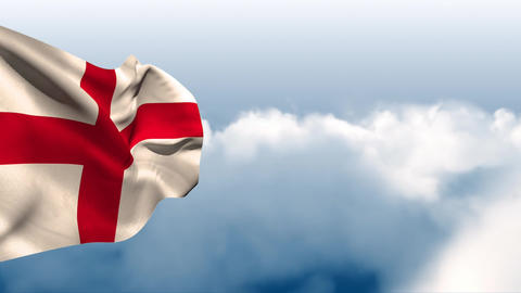 English flag waving in the wind with a sky background Animation