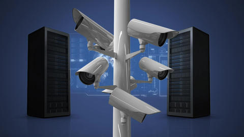 Server towers with surveillance Animation