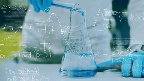 Mixing chemicals and math equations Animation