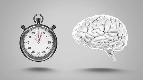 stopwatch and human brain Animation