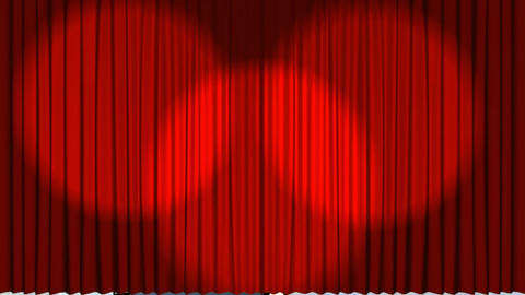 Theatre curtains showing a film roll Animation