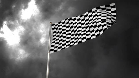Racing flag waving in the wind under as storm Animation