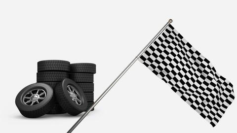 Racing tires and racing flag Animation