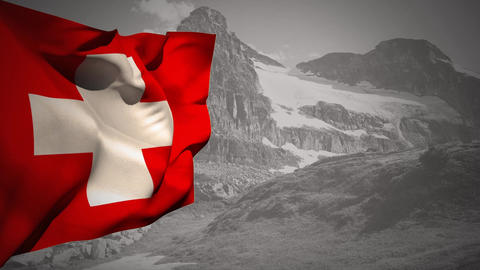 Flag of Switzerland waving Animation