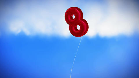 Red colored balloon in the form of eight Animation