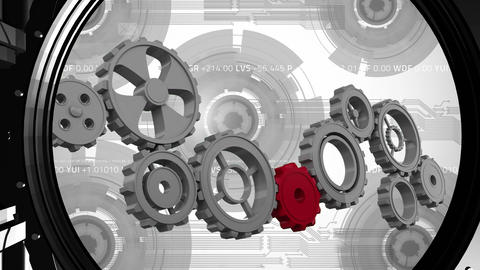 Bank safe with gears and cogs Animation
