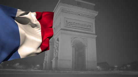 French flag and Arc de Triomphe Animation