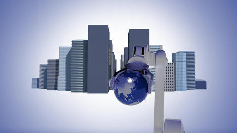 Robotic arm holding spinning globe surrounded by buildings Animation