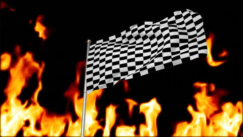 Race flag with flaming background Animation