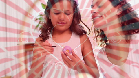 Mother and daughter painting easter eggs Animation