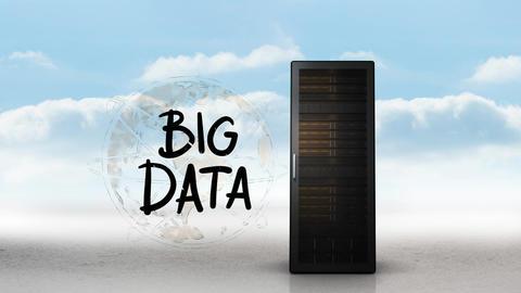 Server tower and big data Animation