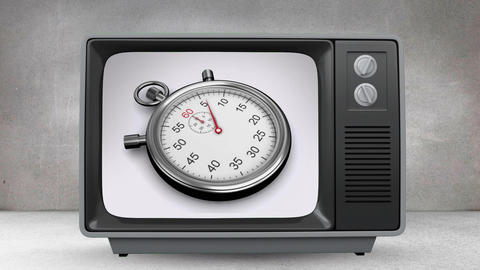 Old TV with animation of stopwatch on screen Animation
