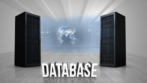 Data servers and numeric dashboard with spinning globe in an empty room Animation