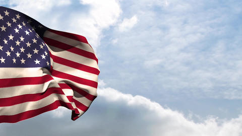 American national flag waving Animation