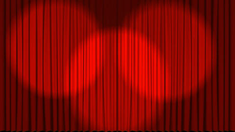 Animation of theatre curtains opening with spotlight Animation