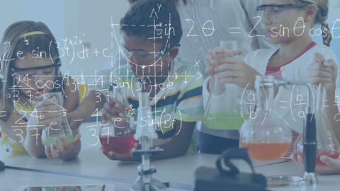 Kids in chemistry class with their teacher 4k Animation