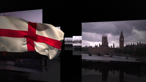 England flag with photos famous landmarks Animation