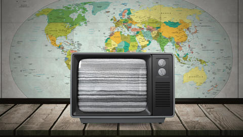 Television with a globe on its screen Animation
