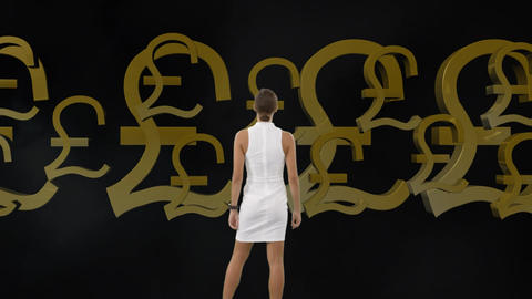 Businesswoman looking an animation of pound sterling Animation