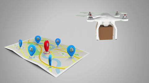 Drone delivering packages Animation