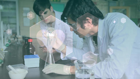 Scientist conducting experiment against hexagon shape animation Animation