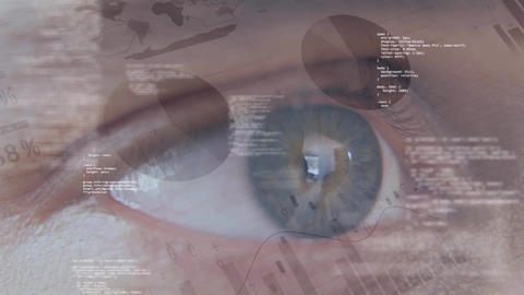 Blue eye surrounded by an animation of codes and financial data Animation