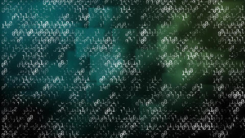 Animation of binary codes against blue and green moving squares Animation