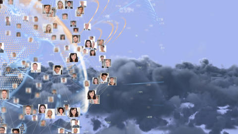 Global networking soaring through the sky Animation