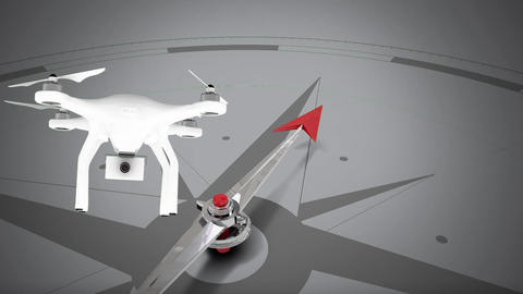 Animation of compass and drone on grey background Animation