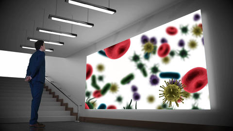 Businessman looking at projector screen with bacteria Animation