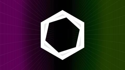 Hexagon turning around itself on dark background Animation