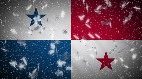 Panama flag falling snow loopable, New Year and Christmas background, loop Animation