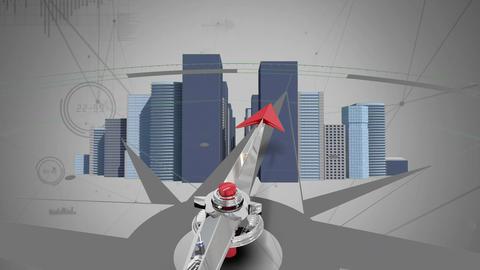 Compass against buildings Animation