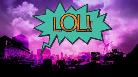 Word LOL in exclamation bubble on cityscape background Animation
