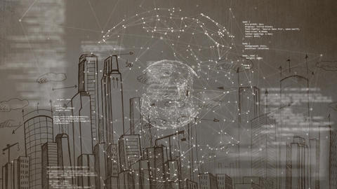 Connected bubble with landscape of city drawing on background Animation