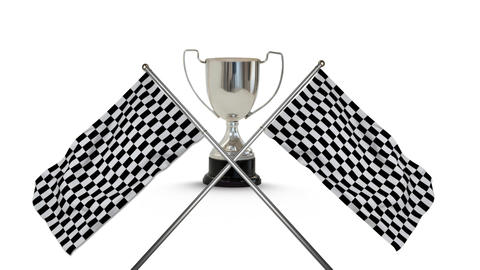 Racing flags with a trophy Animation