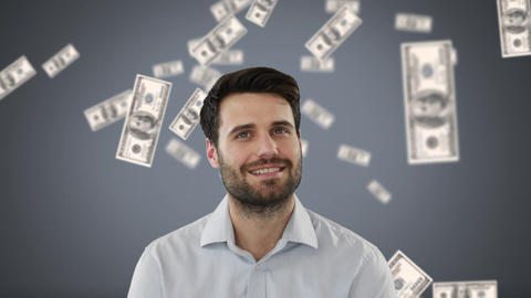 Businessman with money in free-fall on grey background Animation