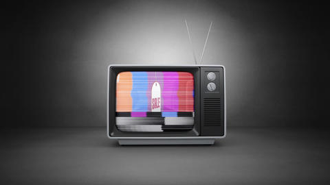 Television with a sale tag advertisement Animation