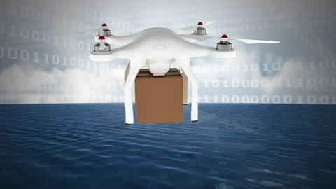 Delivery drone and binary codes against cloudy sky and ocean Animation