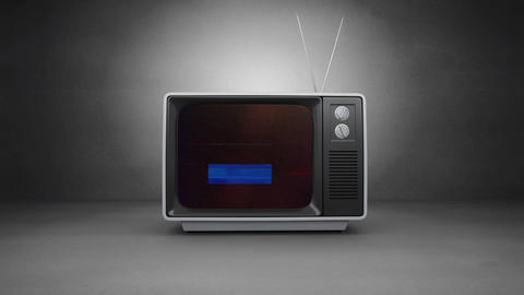 Old TV switch on with animation on screen and a grey background Animation