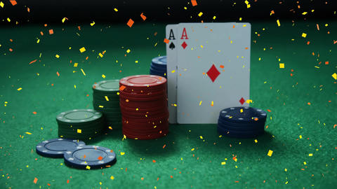 Tokens and cards posed on casino table with confetti animation Animation