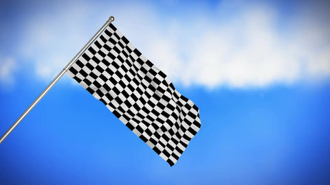 Racing flag hanging on a pole Animation