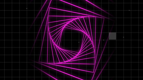 Pink corridor in spiral with grid on black background Animation