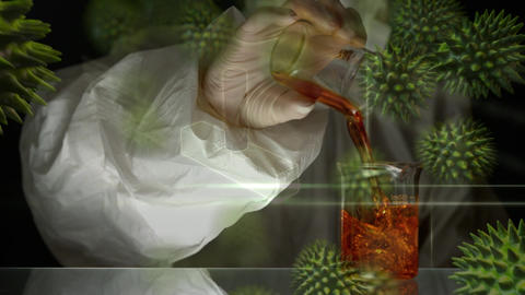 Scientist pouring chemicals in beaker Animation