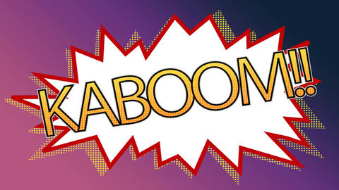 Pop art kaboom animation of a comic stripes against shade purple background Animation